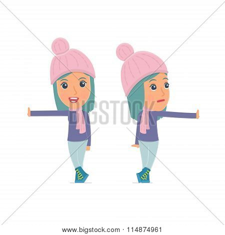 Doubt And Funny Character Winter Girl Leaned Against The Wall And Shares Information