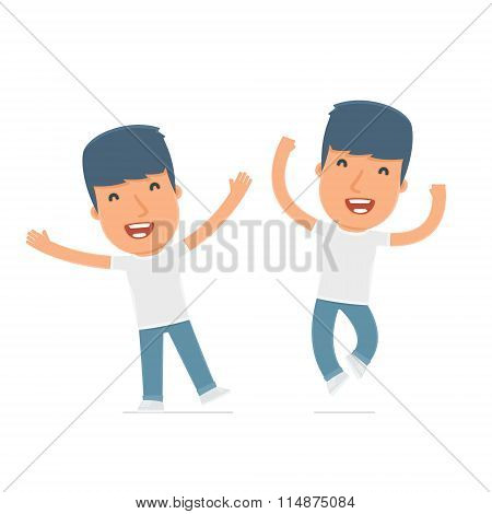 Laughing And Joyful Character Activist Celebrates And Jumps
