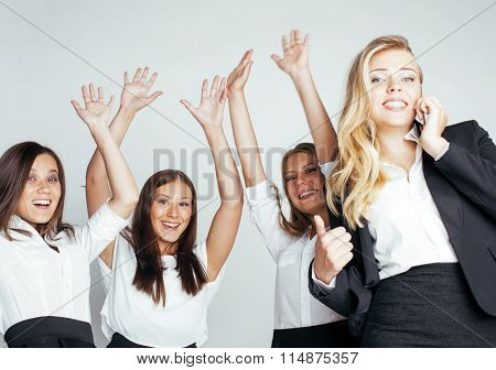 businesspeople women team talking gesture celebrating sucsess emotional on white background