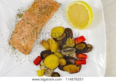 Wild Salmon With Mixed Vegetables