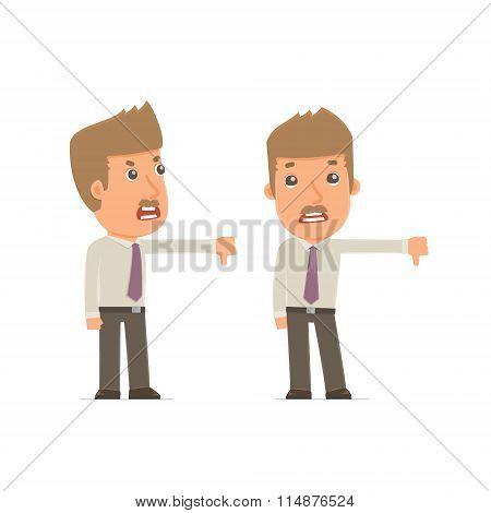 Frustrated And Angry Character Broker Showing Thumb Down As A Symbol Of Negative