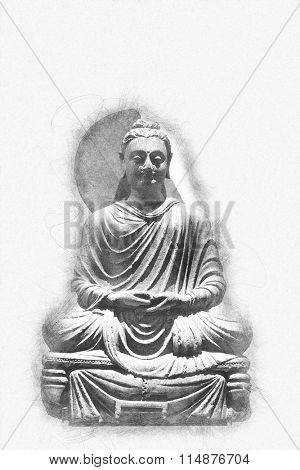 Vintage greyscale statue of a seated Buddha with a textured shadow or spiritual aura and copy space