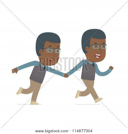 Happy And Joyful Character African American Teacher Runs And Drags His Friend To Show Him Something