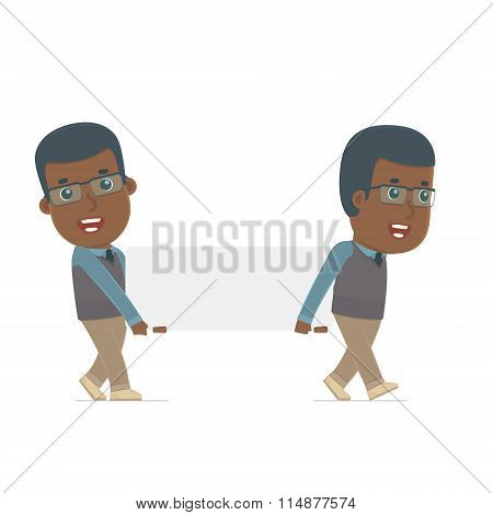 Funny Character African American Teacher Holds And Interacts With Blank Forms Or Objects