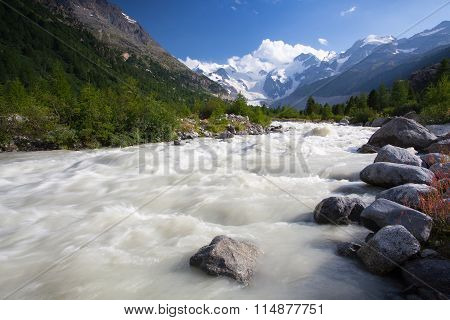 Swiss Mountain Landscape Of The Morteratsch Glacier Valley