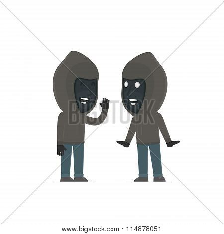 Cunning Character Anonymous Hackers Gossiping And Telling Secret To His Friend