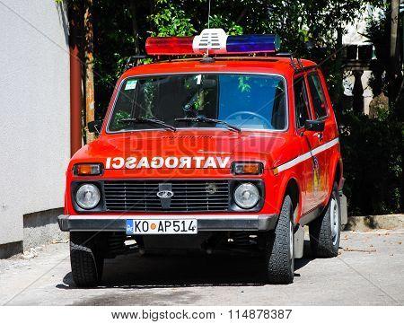 Fire Truck Is On Duty In Kotor