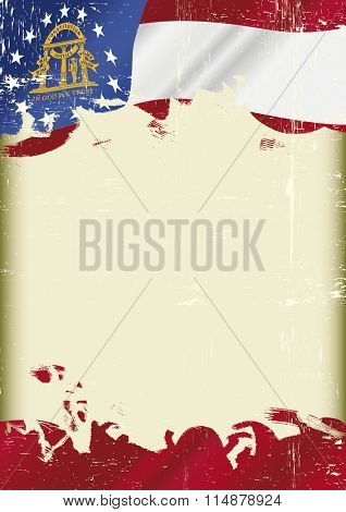 Georgia Flag grunge background. A flag of Georgia with a grunge texture and a large frame for your message