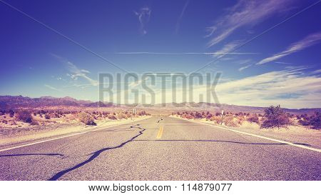 Vintage Stylized Endless Country Highway, Usa.