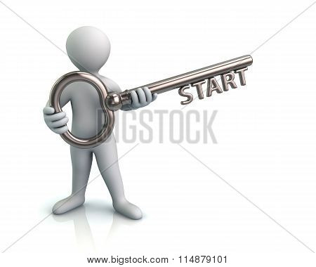 Man And Silver Key With Word Start