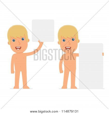 Funny Character Naked Man Holds And Interacts With Blank Forms Or Objects