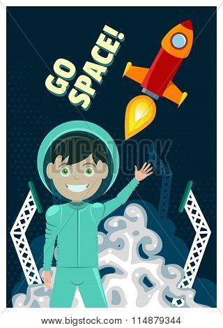 Astronaut and Rocket Launch