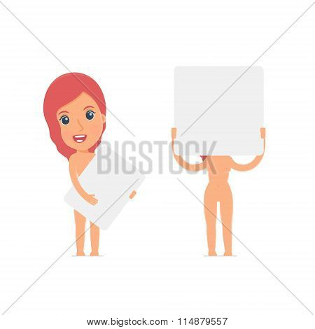 Funny Character Naked Female Holds And Interacts With Blank Forms Or Objects
