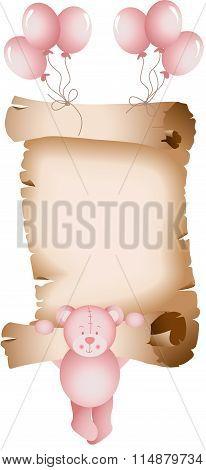 Baby girl teddy bear parchment