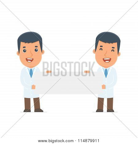 Funny Character Doctor Holds And Interacts With Blank Forms Or Objects