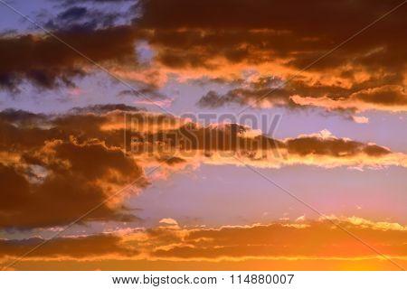 Dramatic Sunset In Orange Tones