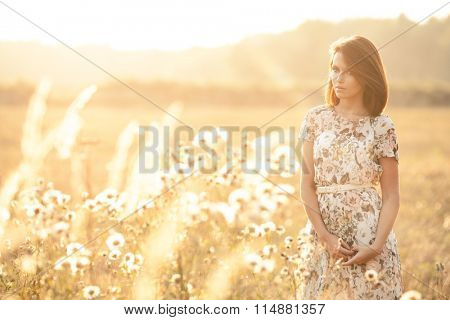 Sunny summer portrait of a beautiful young woman in the middle of a field