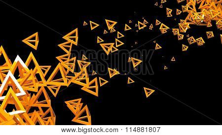 Glossy pyramidal frame in random order hanging in the air on a black background. Abstract illustrati