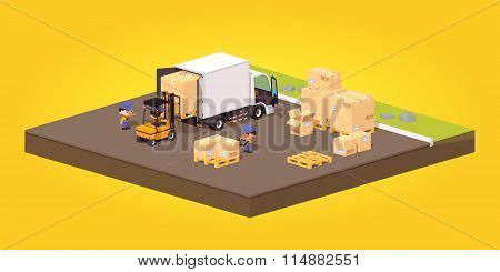 Cube World. Loading or unloading of the cardboard boxes. White truck and forklift