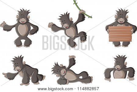 Funny cartoon happy gorilla. Cute monkey.
