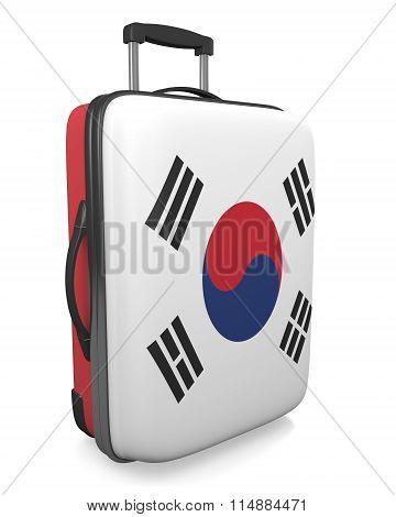 South Korea vacation destination concept of a flag painted travel suitcase