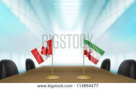 Canada and Iran relations and trade deal talks 3D rendering