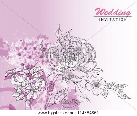 Greeting card with roses, watercolor, can be used as invitation card for wedding.