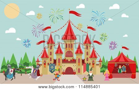 Medieval Castle with characters (king, princess, magician, knights and jester) and fireworks