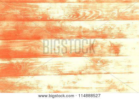 Orange Wood Board Background. Tinted Photo.