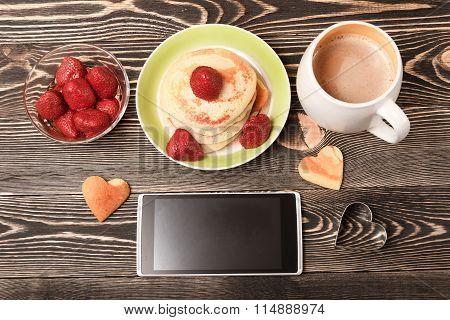 smartphone, cup of coffee, Pancakes, strawberries