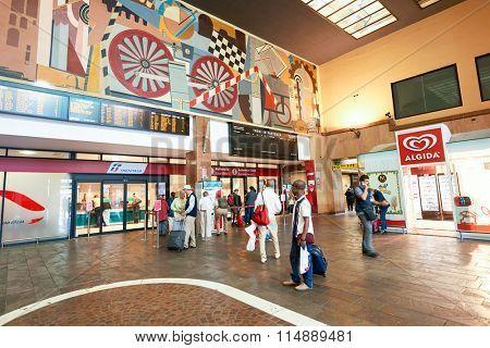 VERONA, ITALY - SEPTEMBER 12, 2014: interior of Verona railway station. Verona is a city straddling the Adige river in Veneto, northern Italy