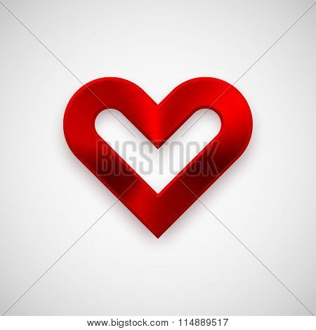Red Abstract Heart Sign With Metal Texture