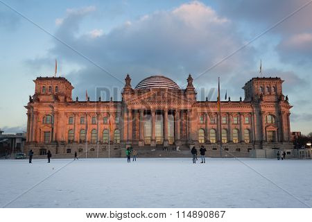Facade View Of The Reichstag (bundestag) Building In Berlin, Germany - Winter