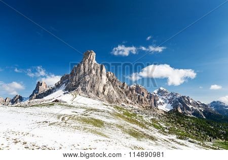 Nuvolau peak after a summer snowfall; passo Giau, Dolomites, Italy.