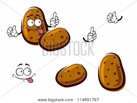 Fresh brown potato cartoon vegetables