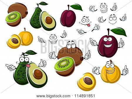 Cartoon avocado, kiwi, plum and peach