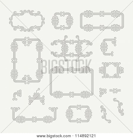 Flourishes Calligraphic Frame. Retro Design for Invitations, Posters and Badges. Vintage Decoration Element. Vector Illustration Template.