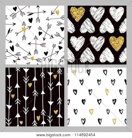 Valentine's Day Golden Glitter Heart Patterns - 4 Seamless Backgrounds - in vector
