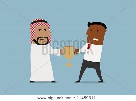 Arabian and black businessmen fighting for trophy