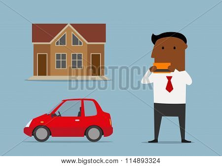 Manager bought car and house by credit card