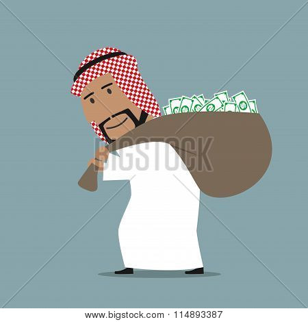 Arabian businessman carrying full money bag