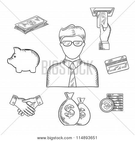 Banker and financial sketched icons