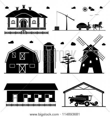 Agriculture icons. House, barn, hangar, windmill, garage for agricultural machines.