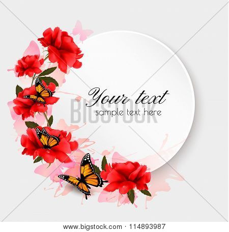 Holiday background with red flowers and butterflies. Vector.