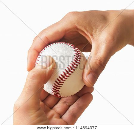 Man's Hands With Baseball Ball