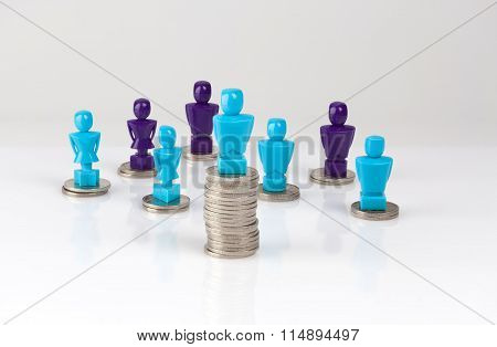 Wage Gap, Money Distribution Concept With Male And Female Figurines