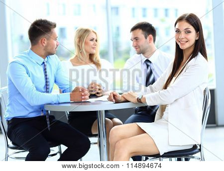 business woman on the background of business people
