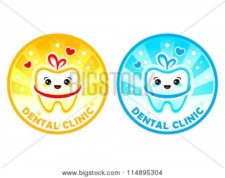Cute dental clinic symbol or sticker isolated