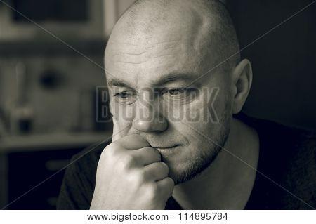 Sad man. Black and white photo