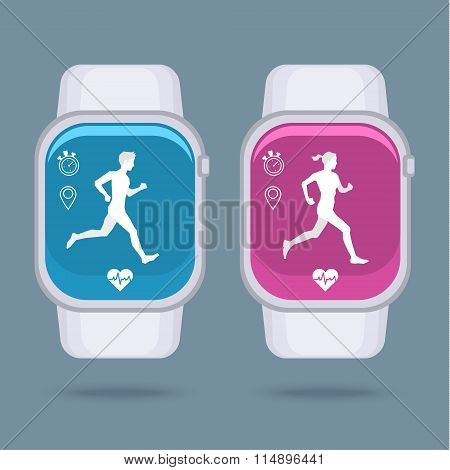 Smart watch technology with sport fitness tracker applications